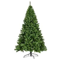 Costway 7.5FT PVC Artificial Christmas Tree 1346 Tips Premium Hinged w/ Solid Metal Leg