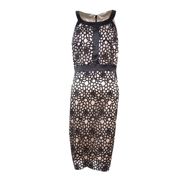 Jax Womenu0027s Open Crochet Overlay Satin Dress   Black   Free Shipping On  Orders Over $45   Overstock.com   23387221