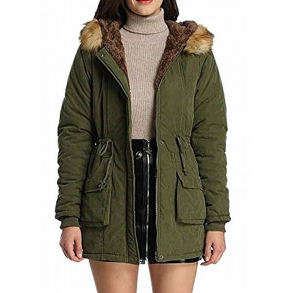 iLoveSIA Military Green Womens Size 6 Basic Hooded Faux Fur Jacket
