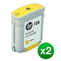 HP 728 Yellow DesignJet Ink Cartridge (F9J61A)(2-Pack)