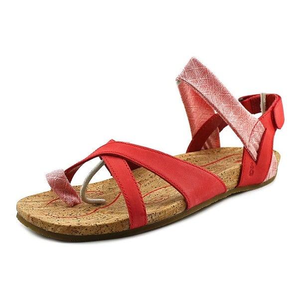 0b535926f46 Shop Ahnu Sananda Women Open Toe Leather Red Slides Sandal - Free ...