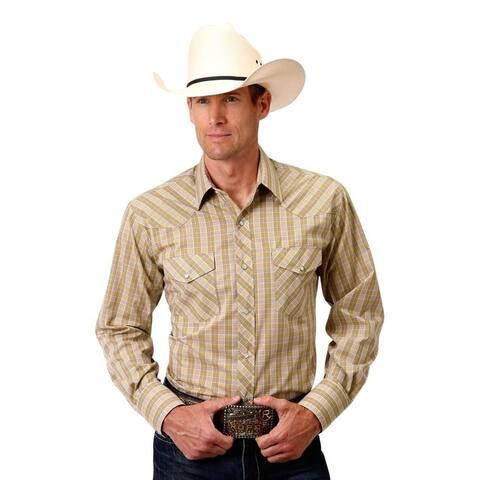 Roper Western Shirt Mens L/S Plaid Snap Tan