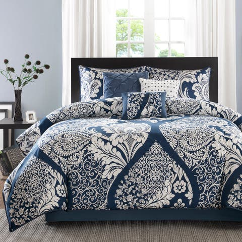 Madison Park Marcella Indigo Cotton Printed 7-piece Comforter Set