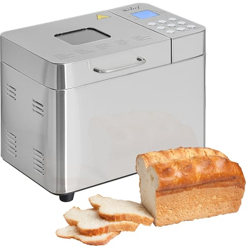 Deco Chef 2 LB Stainless Steel Bread Maker with 25 Smart Cooking Programs and Accessories