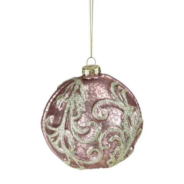 "Blush Pink Glitter Swirl Mercury Glass Ball Christmas Ornament 4"" (100mm)"