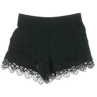 Alythea Womens Lace Trim Cotton Casual Shorts - S