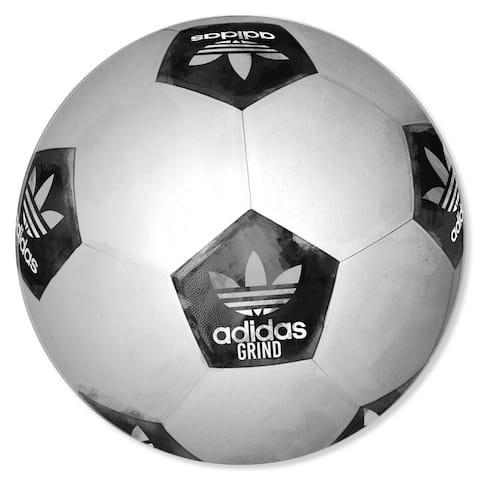 Oliver Gal 'Soccer Ball Round' Sports Black Acrylic Wall Art