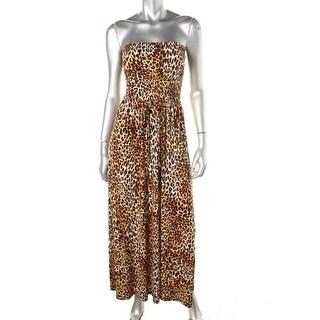 Anne Klein Womens Animal Print Strapless Maxi Dress