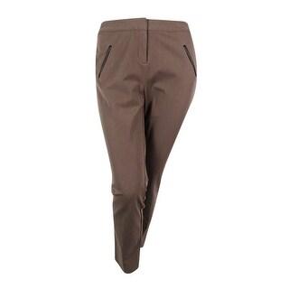Alfani Women's Plus Size Faux-Leather-Trim Slim-Leg Pants