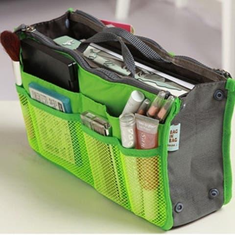 Multicolor Double Zipper Storage Cosmetic Bag