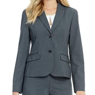 Calvin Klein NEW Gray Women's 2P Petite Pinstriped 2-Button Blazer