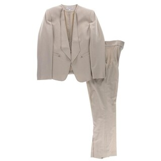 Tahari ASL Womens Pant Suit Solid Open Front