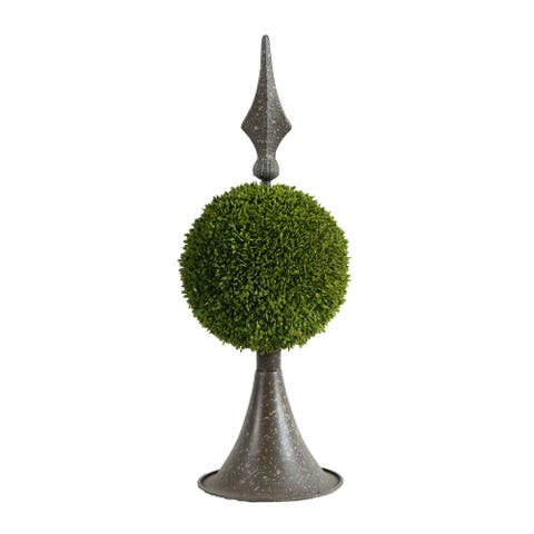 Antique Bronze and Green 17-inch Spired Sphere Boxwood Topiary