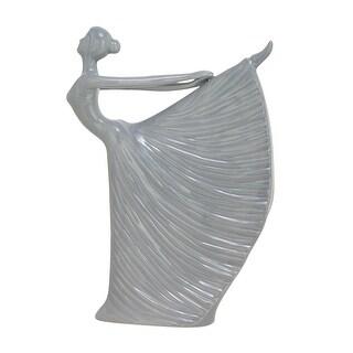 Glossy Grey Ceramic Elegant Dancing Woman Statue 14 inch - gray