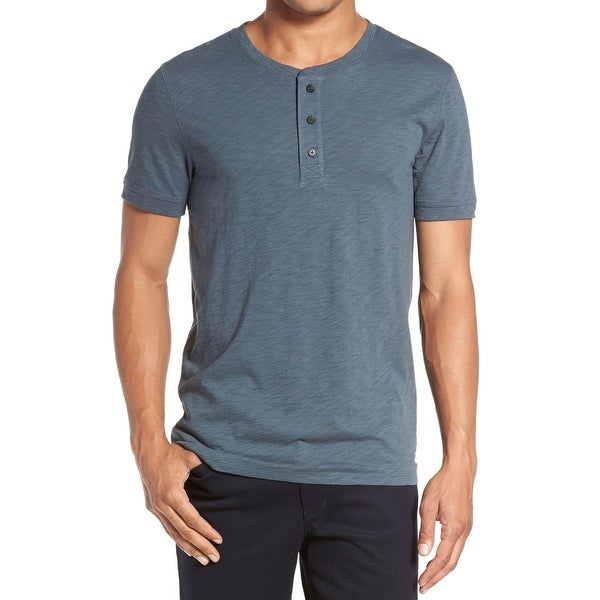 cb753a5e Shop VINCE. NEW Blue Mens Size Large L Slub Short Sleeve Henley T-Shirt -  Free Shipping On Orders Over $45 - Overstock - 20746350