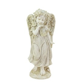 """10.25"""" Heavenly Gardens Distressed Ivory Angel Girl w/ Floral Crown Outdoor Patio Garden Statue"""
