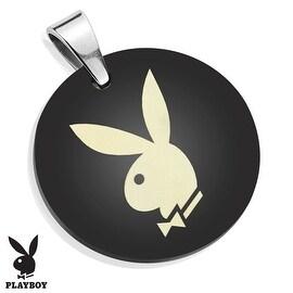 Playboy Logo Laser Etched Medallion Black IP Stainless Steel Pendant  (28 mm Width)