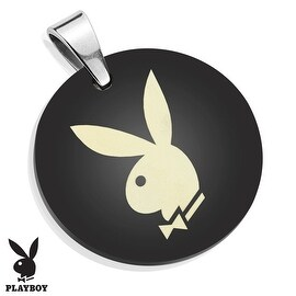 Playboy Logo Laser Etched Medallion Black IP Stainless Steel Pendant (28 mm Width)