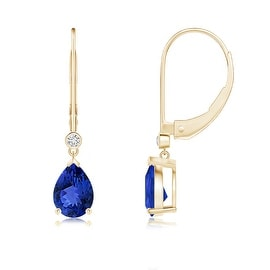 Leverback Pear Tanzanite Drop Earrings with Diamond