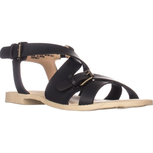 ESPRIT Sunny Flat Strappy Sandals, Black - 6 us