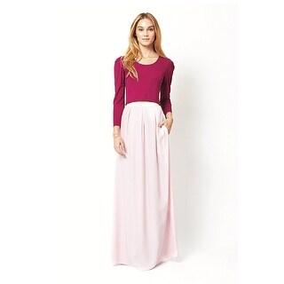 Ariana Rockefeller Amelia Pleated Silk Maxi Skirt Pink