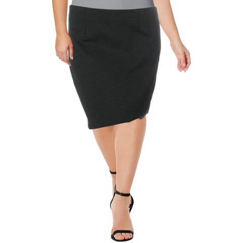 Amanda + Chelsea Womens Straight Skirt Striped Comfort Waist - Black/Charcoal - XL