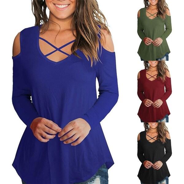 ff0db72974f5 Shop Cold Shoulder Criss Cross Long Sleeve Shirt - On Sale - Free ...