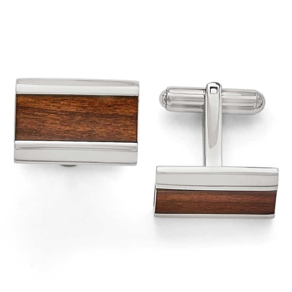 Chisel Stainless Steel Polished Wood Inlay Enameled Cuff Links