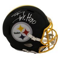 TJ Watt Autographed Pittsburgh Steelers Black Replica Helmet PSA