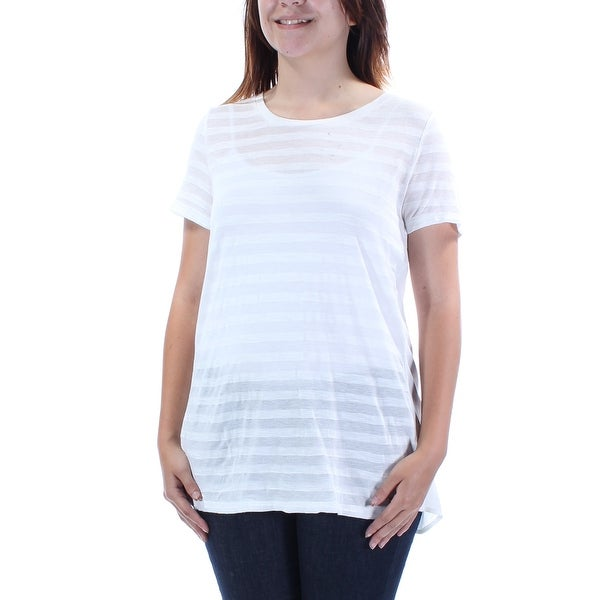 41e1917de Shop TOMMY HILFIGER Womens Ivory Striped Short Sleeve Jewel Neck T-Shirt Top  Size: S - On Sale - Free Shipping On Orders Over $45 - Overstock - 21272247