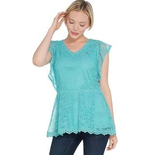 Link to Isaac Mizrahi Ladies Stretch Flutter Sleeve Peplum Tunic 1X Turquoise A308016 Similar Items in Loungewear