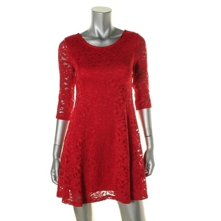 Lush Womens Juniors Lace Fit & Flare Cocktail Dress - S
