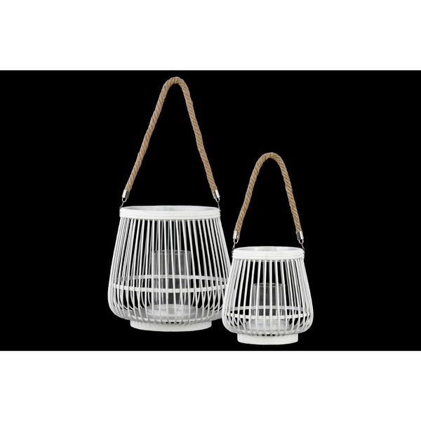 Bamboo Round Lantern with Rope Hangers, Set of Two, White