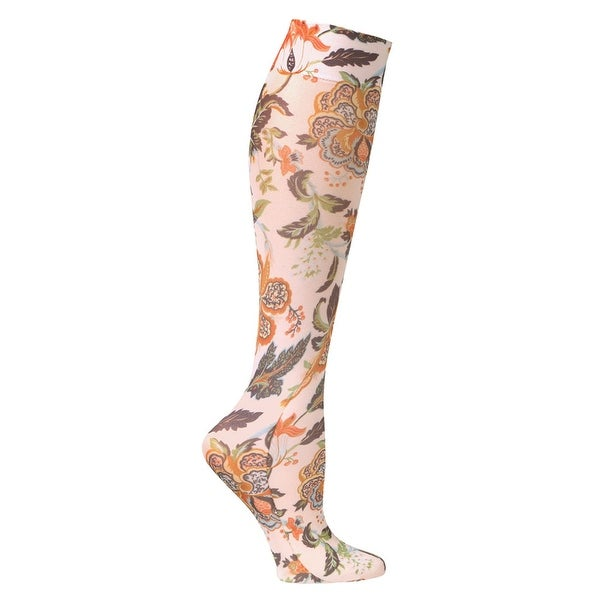 Printed Mild Compression Wide Calf Knee High Stockings - Women's - Harvest Floral