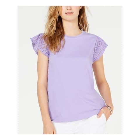 MICHAEL KORS Womens Purple Jewel Neck Top Size M
