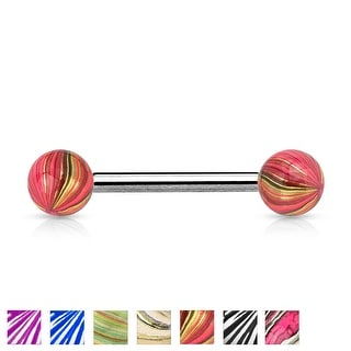 Multi Color IP Surgical Steel Ball and Clear Electric Coated Barbell - 14GA (Sold Ind.)