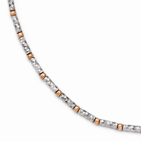 Italian Sterling Silver Rose flash-plated Diamond Cut Anklet with 1in ext. - 9 inches