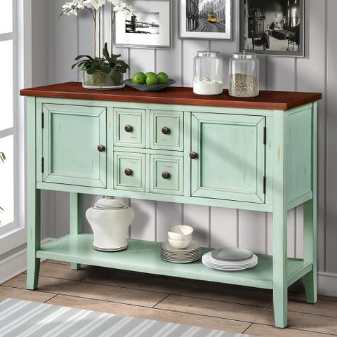 Cambridge Series Buffet Sideboard Console Table with Bottom Shelf - Blue