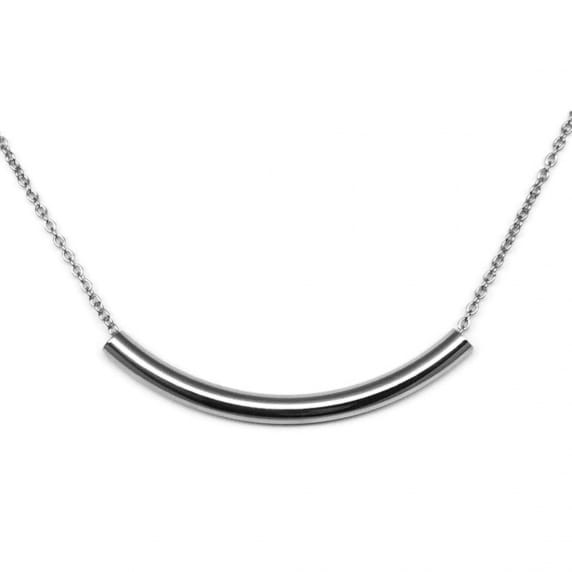Simple Stainless Steel Silver Curved Bar Tube Necklace by Loralyn Designs