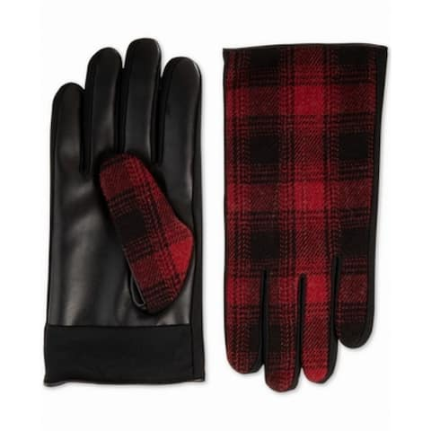 Isotoner Driving Gloves Black Faux Leather Plaid Touchscreen