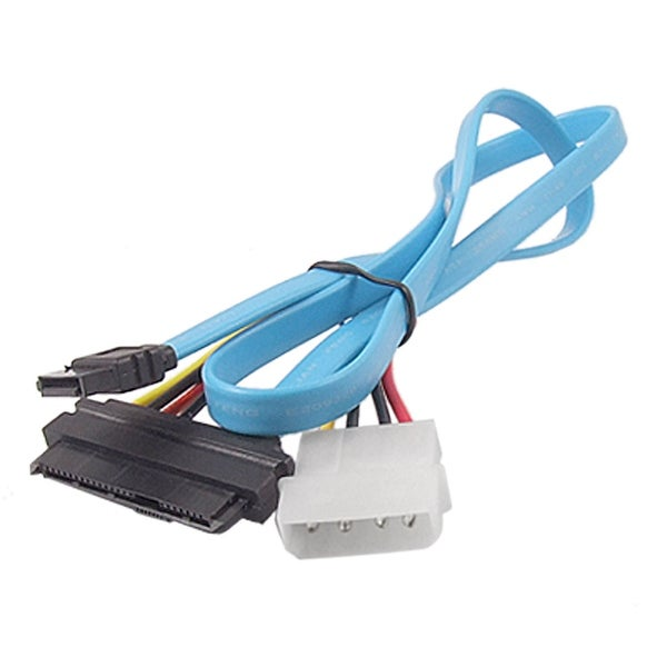 Unique Bargains Blue 7 Pin SATA TO SAS 29 PIN + 4 PIN Male Connector Power Cable