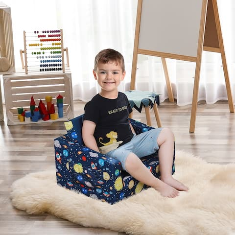 Qaba Kids Fold-Out Couch/Chair Lounger with Space-Themed Washable Fabric & Removable Cushion for 3-6 Years Old