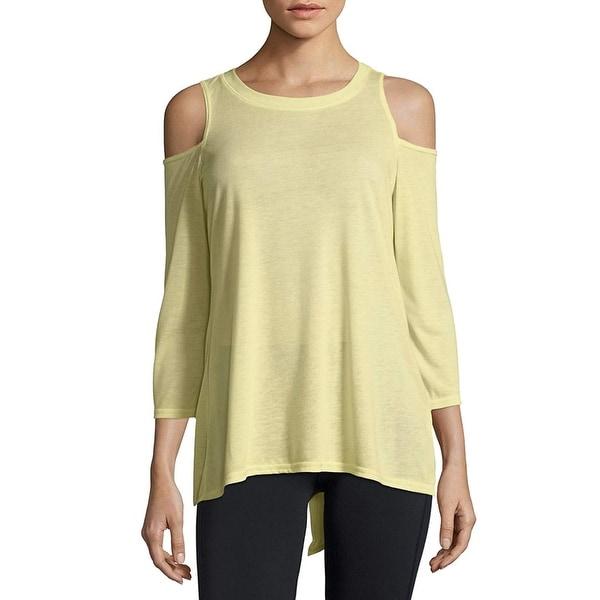 05d1d377add33 Calvin Klein Performance Split-Back Women  x27 s Cold-Shoulder Top Yellow