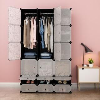 LANGRIA 18-Cube DIY Modular Shelving Storage Organizer Wardrobe (Transparent)