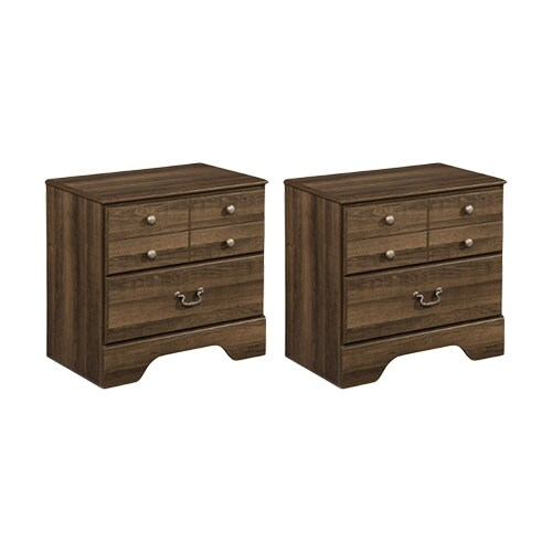 """""""Allymore Two Drawer Night Stand Brown - 2-Pack Allymore Two Drawer Night Stand Brown"""""""