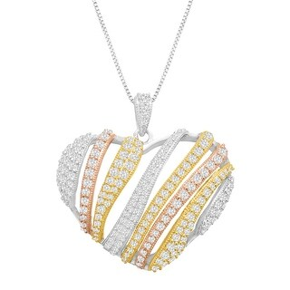 Cubic Zirconia Heart Pendant in 14K Yellow & Rose Gold-Plated Sterling Silver - White