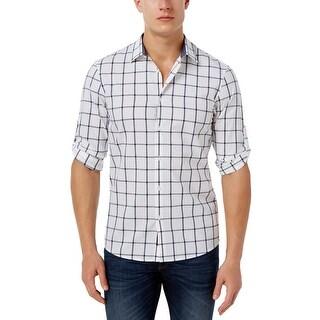 Michael Kors Slim Fit White Windowpane Long Sleeve Shirt X-Large