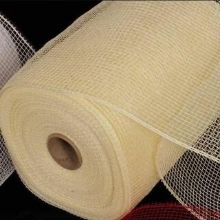 """Cream Deco Mesh Craft Ribbon 6.5"""" x 120 Yards"""