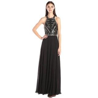 Parker Black Normandy Embellished Bodice Long Evening Gown Dress Black