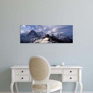 Easy Art Prints Panoramic Image 'Mountains, Mt Eiger, Mt Monch, Grindelwald, Bernese Oberland, Switzerland' Canvas Art